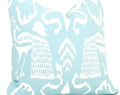China Seas Bali II Aqua and White, Quadrille Pillow Cover Square, Eurosham or Lumbar pillow Accent Pillow, Throw Pillow, Toss Pillow