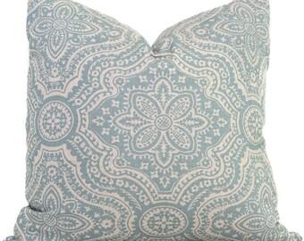 Aqua and Gray Damask Decorative Pillow Cover, Square, Eurosham or Lumbar pillow Throw Pillow, Accent Pillow, Toss Pillow