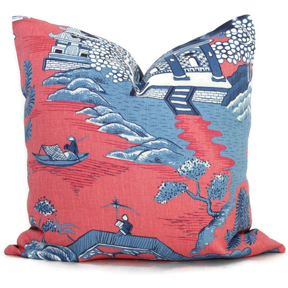 Lee Jofa Willow Pillow Cover Pink Blue Chinoiserie by PopOColor