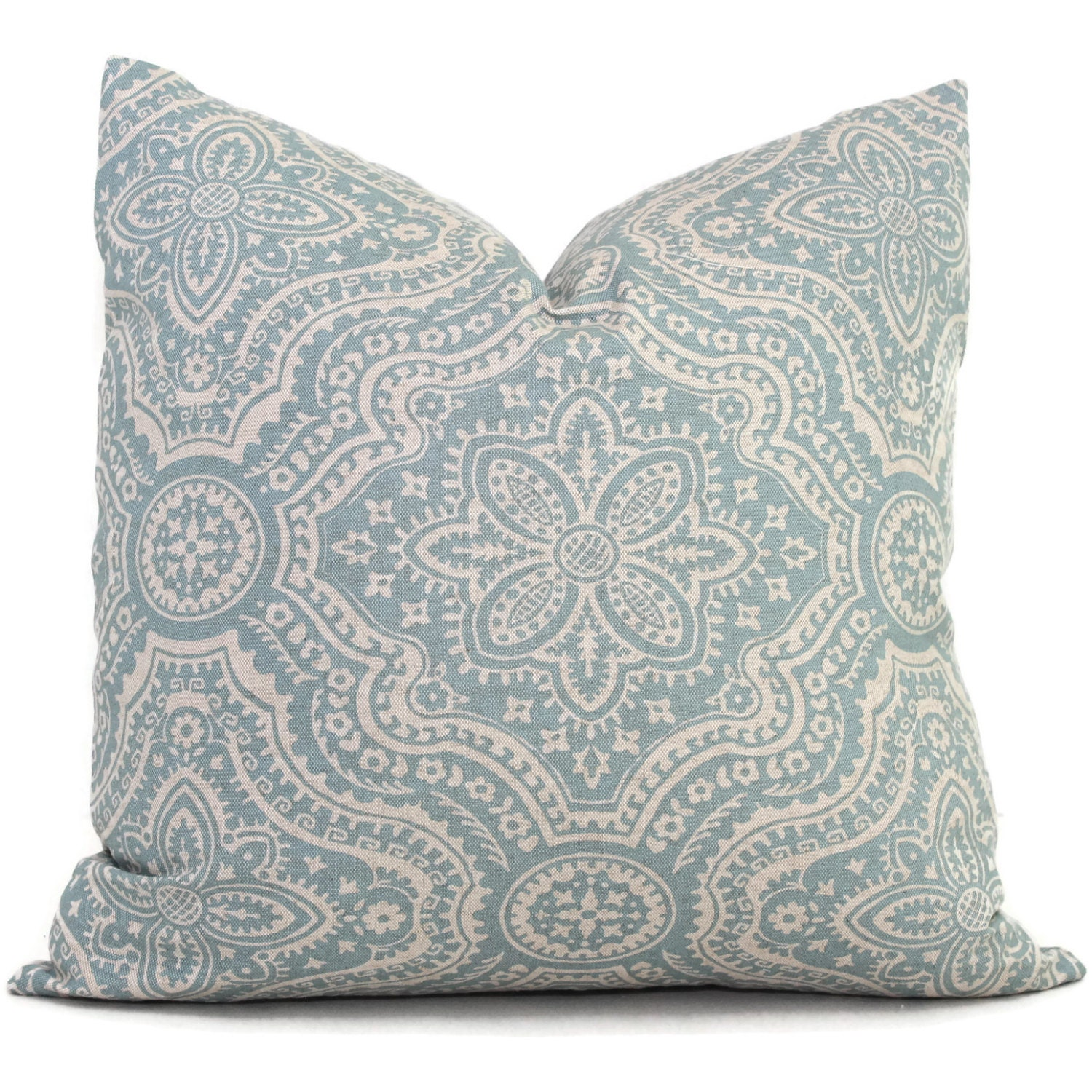 Aqua and gray damask decorative pillow cover square eurosham - Decorative throw pillows ...