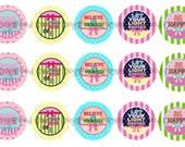 "1"" Inspirational Bottle Cap Image Sheets Party Favors Cupcake Topper Magnet Stickers Printables Bottlecap Instant Download."