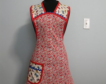 Red Floral Print Vintage Style Apron