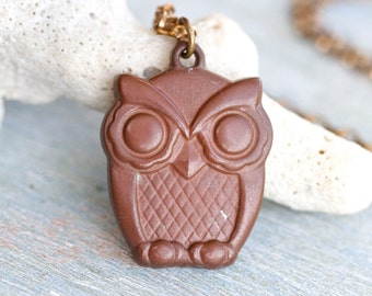 Brown Owl Necklace - Bird Pendant on Chain Necklace