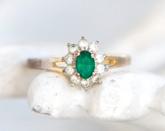 Vintage Cocktail Ring with Green Stone and Rhinestones - Size 9.5
