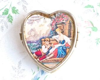 Vintage Heart Shaped Pill Box