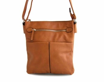 Leather Messenger Bag with Silver Zippers, Handmade in Tanned Vegan Leather -  the Horora - sale with coupon code TRACBAG30OFF345
