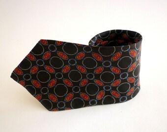 Navy Blue Print Silk Necktie Signed George Machado