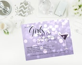 Printable Purple Glitter Girls Night Out Bachelorette Invitation