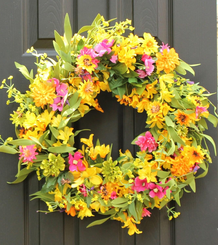 Floral Summer Door Wreath Flower Wreath by EverBloomingOriginal