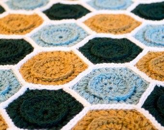 Crochet Pattern for Mod Hive Afghan / Throw / Blanket