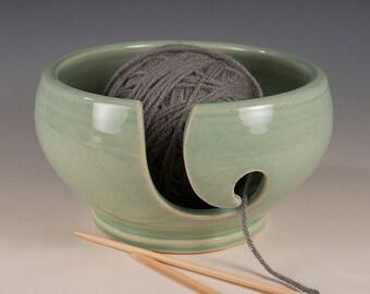 Yarn / Knitting Bowl - Aqua Glaze - Wheel Thrown Stoneware by Seiz Pottery
