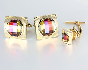 Rainbow Crystal Cuff links Tie Tac, Dante Cufflinks, Vintage mens jewelry Pagoda Volcano