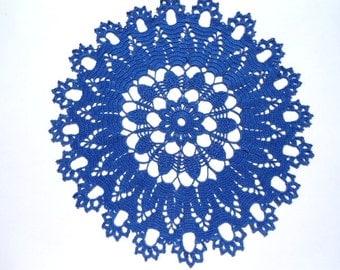 """Blue crochet doily, 15 """" , round doily, lace placemat, crochet centerpiece"""