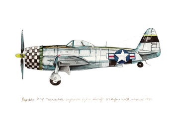 "P-47 Thunderbolt airplane watercolor print, 8""x10"""