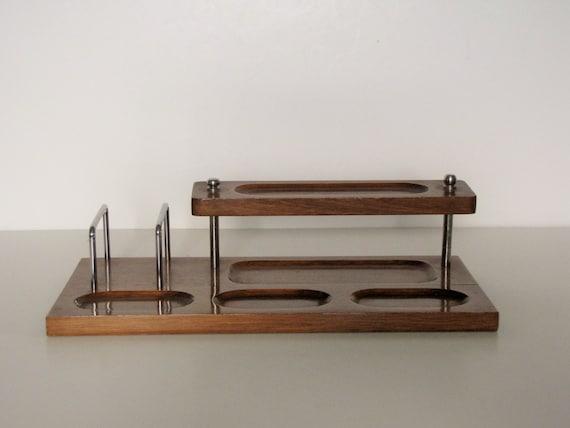 Fantastic Vintage Wood Desk Organizer  Roll Top Desk  Desk Storage