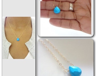 Turquoise Necklace, Gold Filled Chain, Sterling Silver Teardrop, Bridal, Weddings, Bridesmaids, Handmade jewelry