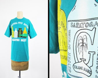 Vintage Saratoga Bottle Collectors T-shirt Turquoise Hanes Cotton - Medium