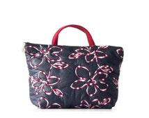 VANITY B, Toilet Bag six pockets night blue padded and embroidered  flowers fabric