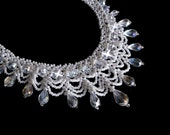 White Wedding Necklace, Seed Bead Jewelry, Bridal Necklace, Beadweaving, Beadwork Necklace