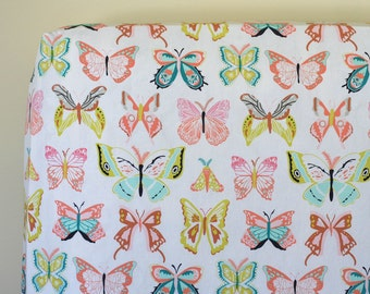 Baby Girl Crib Bedding, Butterfly Fitted Crib Sheet, Changing Pad Cover, Baby Girl Nursery Bedding, Change Mat, Winged Wingspan Melon