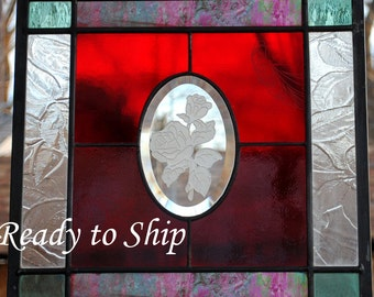 Valentine Red Roses Stained Glass Window Panel - Love Red Green Pink - Only one