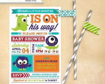 Monster Baby Shower Invitation for any gender Printable