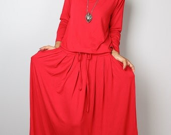 Red Dress -  Long Sleeved Red Maxi dress : Autumn Thrills Collection No.1s  (Best Seller)