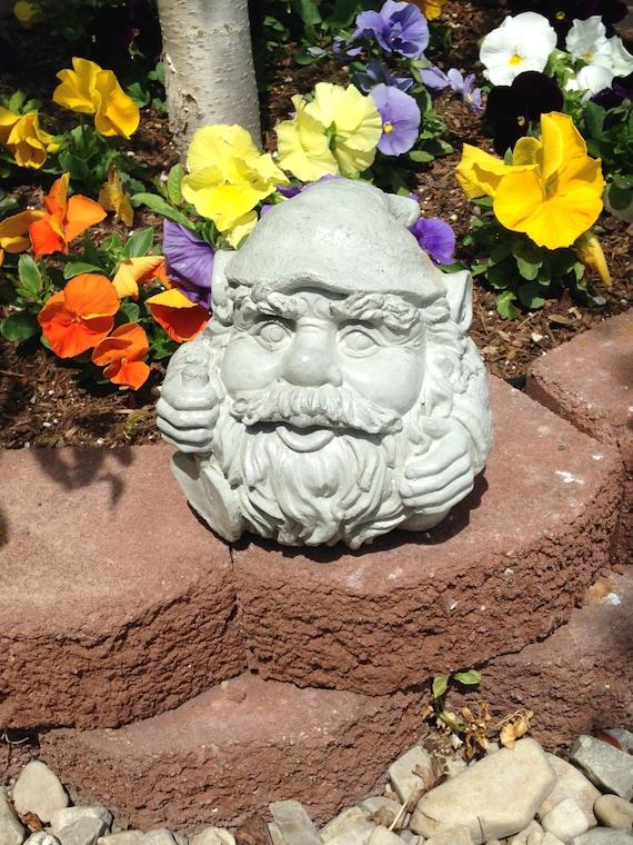 Gnome Garden: Items Similar To Concrete Round Garden Gnome Statue On Etsy