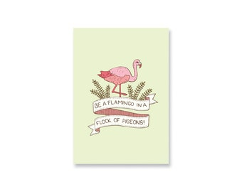 Flamingo Mini Print / Postcard