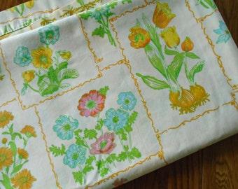 Vintage Botanical Sheet / Full Flat Sheet / Tulips / Tulip Bulbs / Daffodil / Geraniums / Cosmos / Bulbs / Butterflies / Cannon Monticello