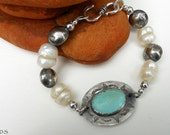 Handmade Southwestern Light Blue Arizona Turquoise Sterling Silver Navajo Pearls Creamy Freswater Pearls