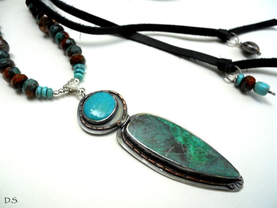 SALE - Handmade Southwestern Blue Green Chrysocolla Arizona Turquoise Czech Turquoise Brown Glass Beads Navajo Pearls Black Leather Necklace