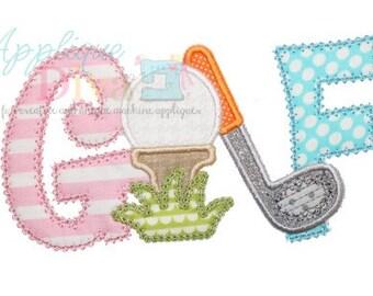 Golf Word Digital Embroidery Design Machine Applique