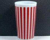 Sale Red Candy Stripe Tumbler Hazel Atlas Beverage Glass 10 oz Vintage 1950s