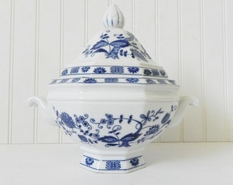 Vienna Woods Fine China - Blue and White Ironstone Soup Tureen - French Country Decor