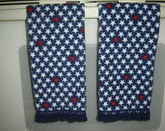 Red and white stars on navy hand/dish towel w/machine-made navy crochet trim,cotton velour, Americana, patriotic kitchen/bathroom, LAST ONE