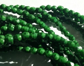 Czech Glass Faceted Round Opaque Dark Kelly Green 4mm  - Fire Polished