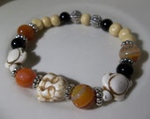 Happy White Turq Buddha & Turtles-Fire Agate-Onyx-Grenades-Unisex-Beaded Bracelat-Stretch (354)