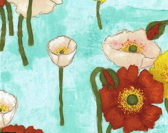 Vignette - Gathered Poppies Aqua by Laura Gunn from Michael Miller