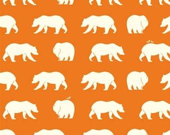 SALE - Bear Camp - Bear Hike Orange - Organic Cotton Print by Jay-Cyn Designs from Birch Fabrics