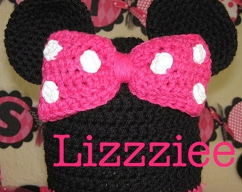 Minnie Mouse Ears Crochet Beanie Pattern PDF - make for Disneyland Disneyworld - beanie, earflap, braids - Instant Digital Download