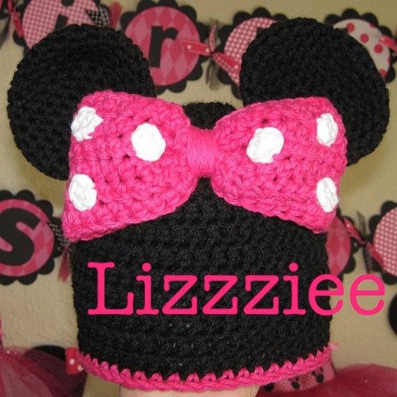 Minnie Mouse Ears Crochet Beanie Pattern PDF - make for Disneyland Disneyworld - beanie, earflap, braids - Instant Digital Download