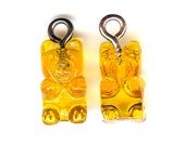 ONE - Acrylic Charm. SMALL 3D GUMMY Bear. Gold. Gummie.