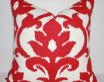OUTDOOR Red Ikat Holiday Christmas Floral Pillow Cover Porch Decorative Deck Patio Pillow Cover 18x18