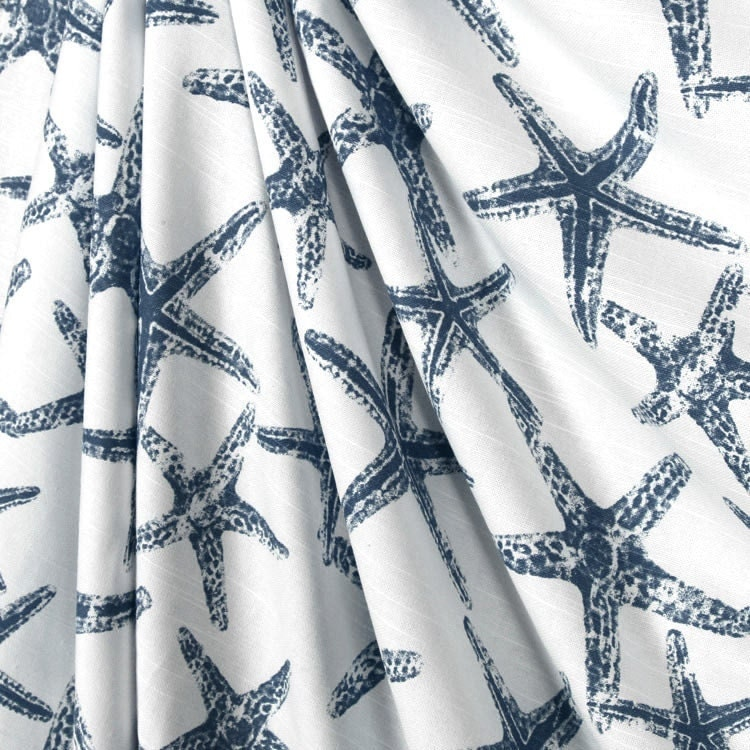 zoom Shower Curtain Navy Blue Starfish White