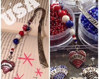 USA Eagle Flag Patriotic Pewter Beaded Dangle Bookmark Airforce Navy Marines Military Back to School