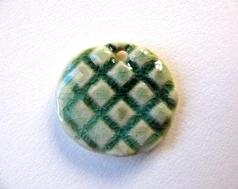 Green Criss Cross Pattern Stoneware Pendant