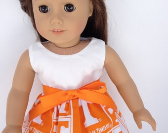 18 inch Doll Dress, University  of Tennesse Game Day Dress, Tennesse Doll Dress