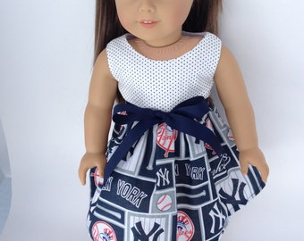 18 inch Doll Dress using Yankee Block Pattern fabric,  made to fit 18 inch dolls such as American Girl and similar 18 inch dolls