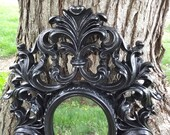 GLAMOUROUS Large 3D Ornate Baroque Wall Bathroom Mirror RARE Vintage Rococo Paris Bedroom French Gothic Victorian Style